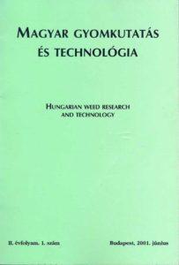 Magyar Gyomkutatás és Technológia 2/1 címlap