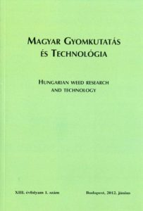 Magyar Gyomkutatás és Technológia 13/1 címlap