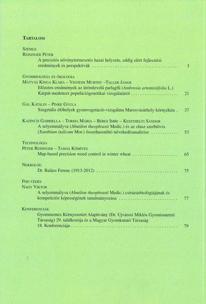 Magyar Gyomkutatás és Technológia 13/1 hátlap
