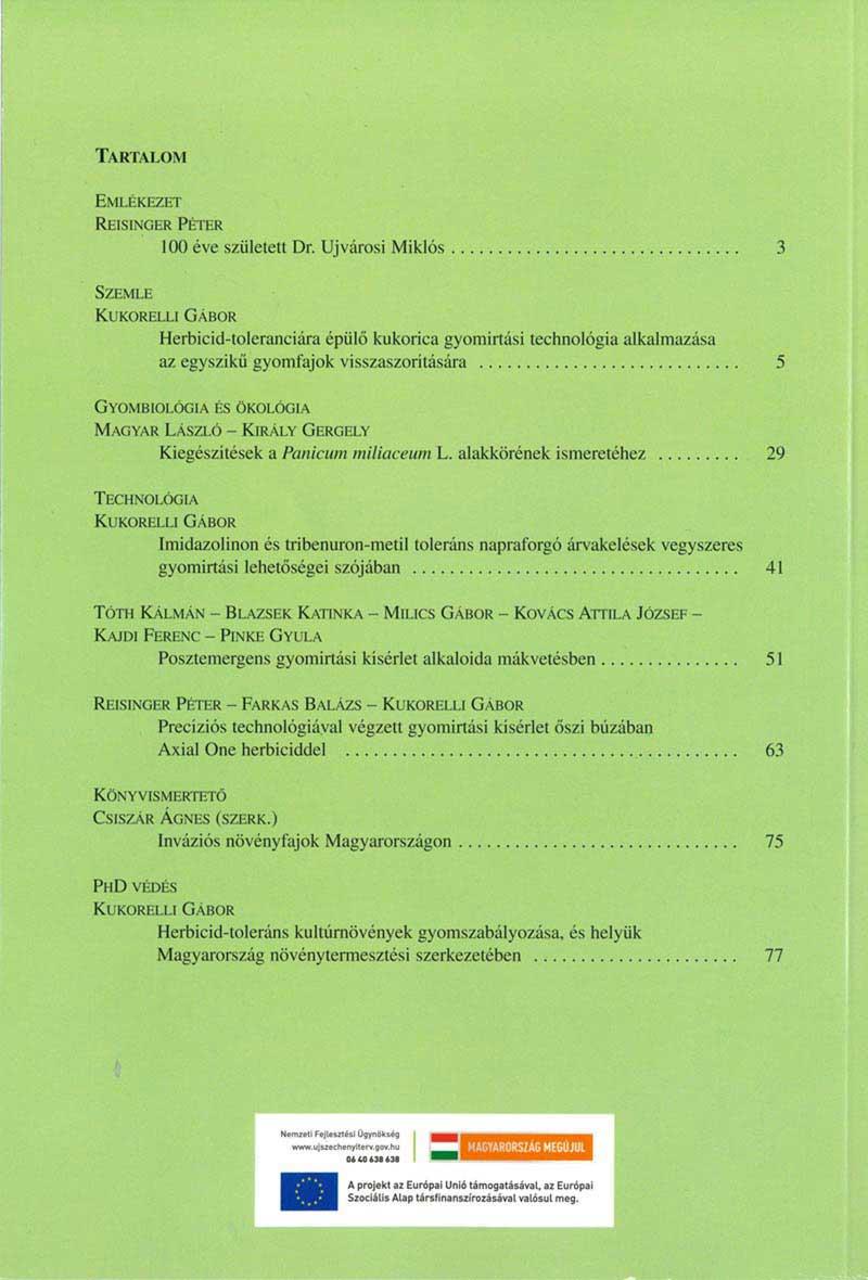 Magyar Gyomkutatás és Technológia 13/2 hátlap