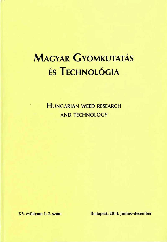 Magyar Gyomkutatás és Technológia 15/ 1- 2 címlap