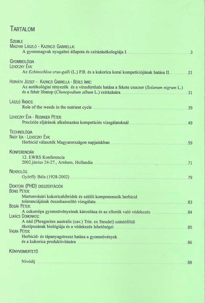 Magyar Gyomkutatás és Technológia 3/2 hátlap