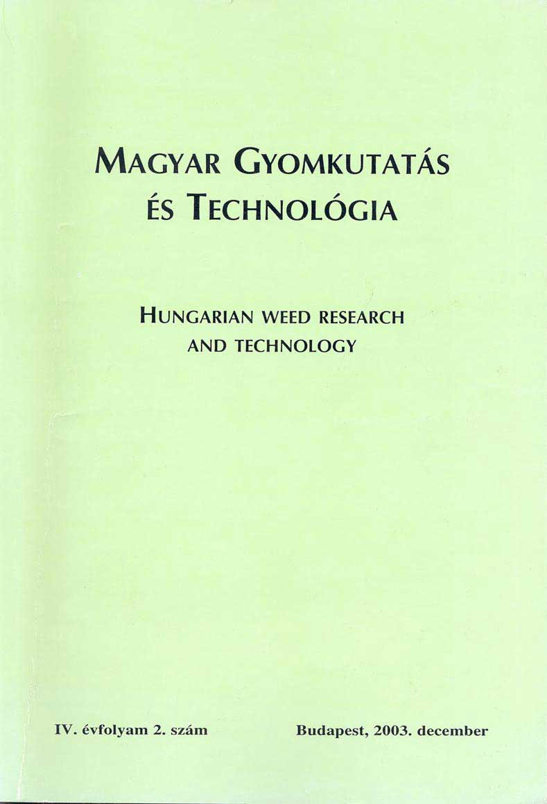 Magyar Gyomkutatás és Technológia 4/2 címlap