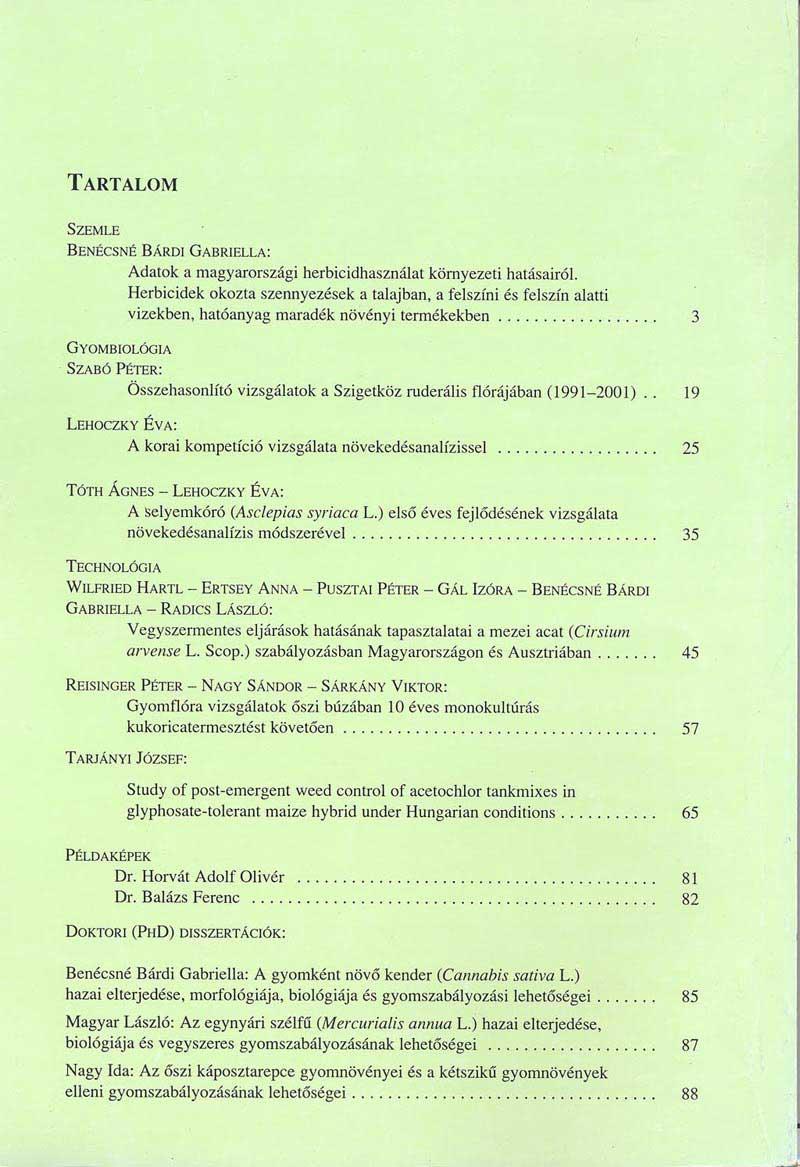 Magyar Gyomkutatás és Technológia 4/2 hátlap