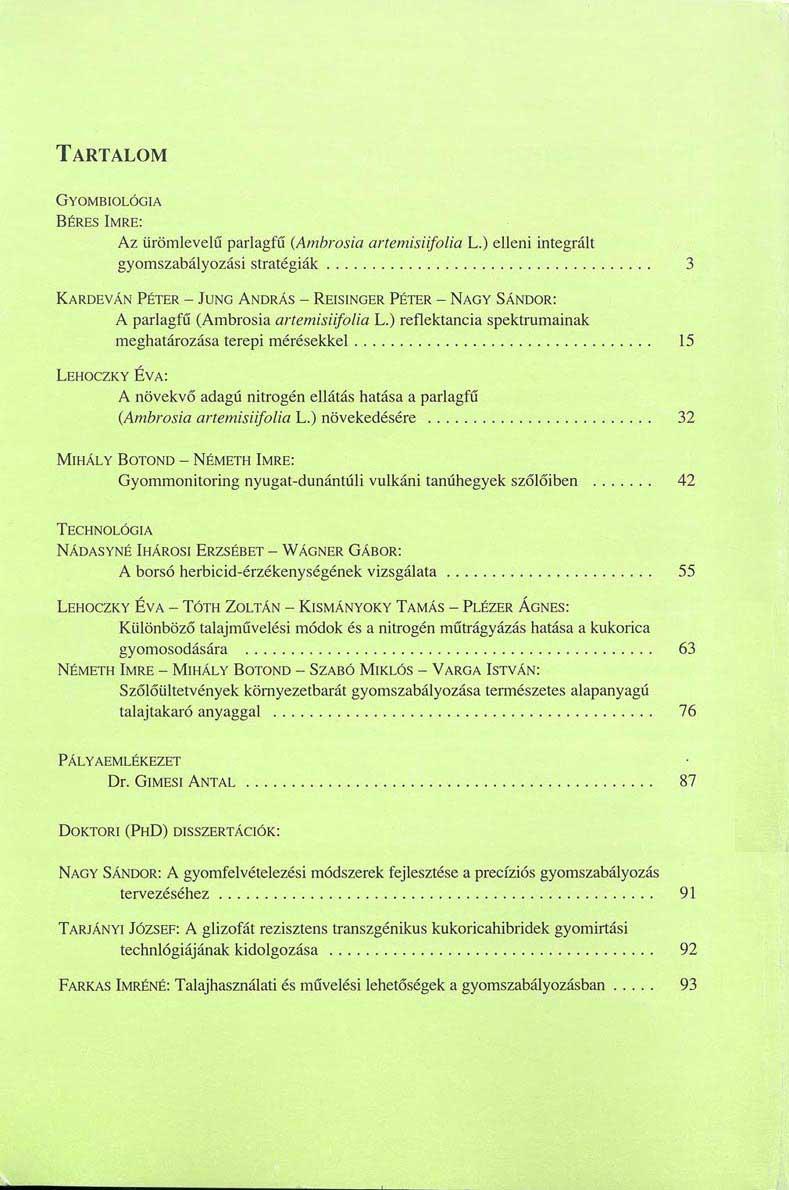 Magyar Gyomkutatás és Technológia 5/1 hátlap