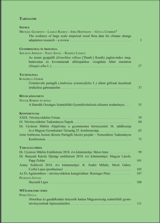 Magyar Gyomkutatás és Technológia 19/1 hátlap