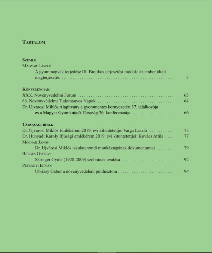 Magyar Gyomkutatás és Technológia 21/1 hátlap
